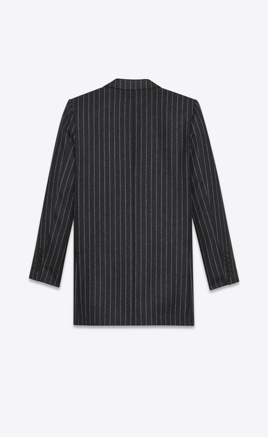 SAINT LAURENT Blazer Jacket D oversized single breasted jacket in anthracite and white pinstriped wool flannel b_V4