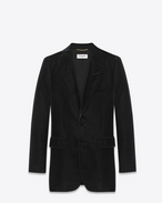 SAINT LAURENT Blazer Jacket D ANGIE Single Breasted Jacket in Black Viscose and Cupro Velour f