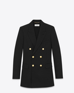 SAINT LAURENT Blazer Jacket D ANGIE Double Breasted Jacket in Black Wool Crêpe f
