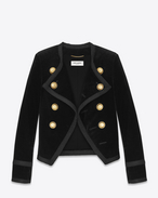 SAINT LAURENT Blazer Jacket D SPENCER Jacket in Black Cotton Velour f