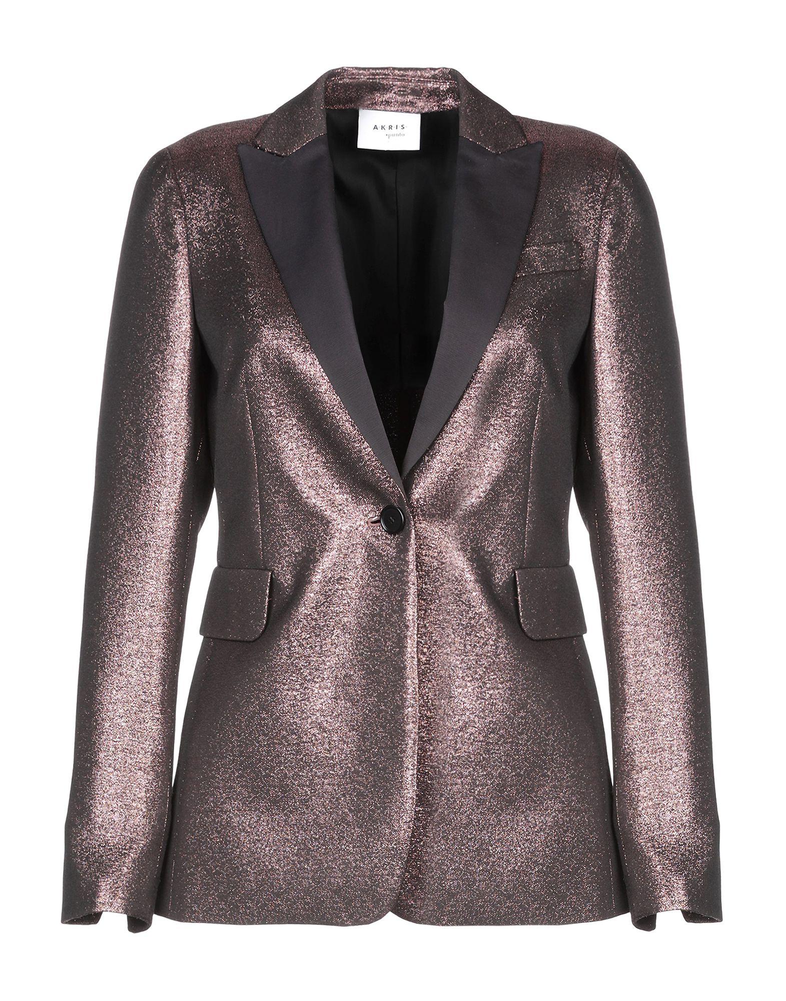 AKRIS PUNTO Suit jackets. plain weave, lamé, no appliqués, basic solid colour, lapel collar, single-breasted, button closing, no pockets, long sleeves, semi-lined, rear slit. 51% Cotton, 49% Polyester