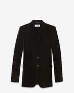 SAINT LAURENT Blazer Jacket U classic single breasted jacket in brown viscose and cupro velour f