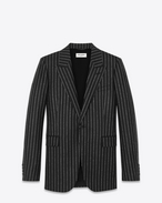 SAINT LAURENT Blazer Jacket U 70's Single Breasted Jacket in Black Striped Wool Flannel f