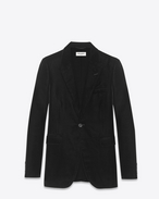 SAINT LAURENT Blazer Jacket U 70's Single Breasted Jacket in Black Viscose and Cupro Velour f