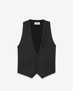 SAINT LAURENT Blazer Jacket U Vest in Black Striped Wool Flannel f