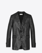 SAINT LAURENT Blazer Jacket U 70's Single Breasted Jacket in Black and Silver Lamé Striped Polyester f