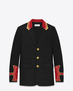 SAINT LAURENT Blazer U Giacca Officier nera in feltro leggero di lana vergine f