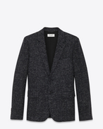 SAINT LAURENT Blazer Jacket U Classic Single Breasted Jacket in Grey Textured Glencheck Wool f