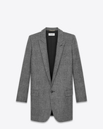 SAINT LAURENT Blazer Jacket D Long Single Breasted Tube Jacket in Black and Shell Glencheck Plaid Felted Wool f