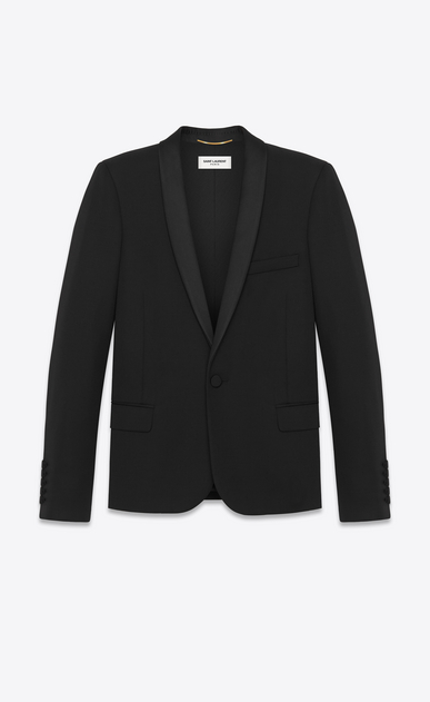 SAINT LAURENT Tuxedo Jacket D iconic le smoking jacket single breasted in black grain de poudre virgin wool a_V4