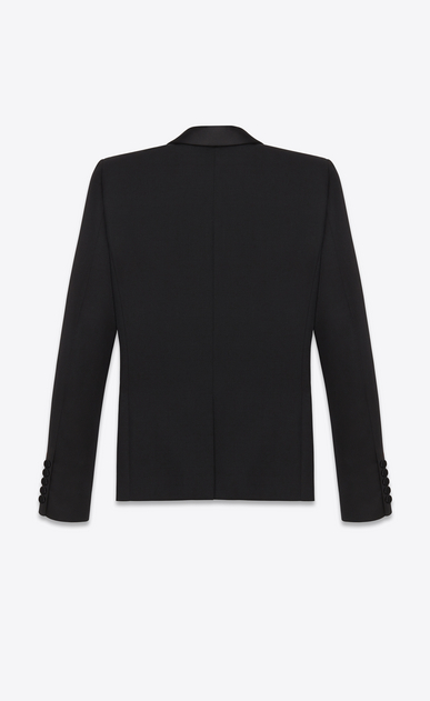 SAINT LAURENT Tuxedo Jacket D iconic le smoking jacket single breasted in black grain de poudre virgin wool b_V4