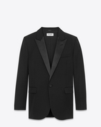 SAINT LAURENT Tuxedo Jacket D Iconic LE SMOKING 80's Jacket in Black Grain De Poudre Virgin Wool f