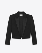 SAINT LAURENT Tuxedo Jacket D iconic le smoking 80's spencer jacket in black wool crêpe f