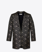 SAINT LAURENT Blazer Jacket D Long Single Breasted Tube Jacket in Black and Silver Star Woven Jacquard f