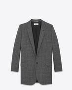 SAINT LAURENT Blazer Jacket D Long Single Breasted Tube Jacket in Black and White Flecked Glencheck Wool and Nylon Plaid f