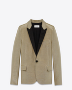 SAINT LAURENT Tuxedo Jacket D Short Single Breasted Tuxedo Jacket in Metallic Champagne Cotton, Acetate and Lurex Lamé f