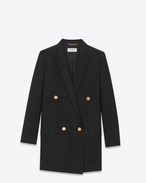 SAINT LAURENT Blazer Jacket D Long Double Breasted Tube Jacket in Black Virgin Wool Gabardine f