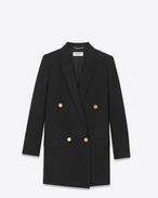 SAINT LAURENT Blazers D Longue veste tube à double boutonnage en gabardine de laine vierge noire f
