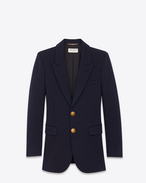 SAINT LAURENT Blazer Jacket D Classic Single Breasted Jacket in Navy Blue Wool Jersey f