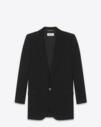 SAINT LAURENT Blazer Jacket D long single breasted tube jacket in black virgin wool gabardine f