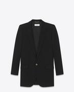 SAINT LAURENT Blazers D longue veste tube à simple boutonnage en gabardine de laine vierge noire f