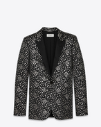 SAINT LAURENT Tuxedo Jacket U Iconic LE SMOKING Single Breasted Jacket in Black and Silver Star Woven Jacquard f