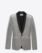 SAINT LAURENT Tuxedo Jacket U Iconic LE SMOKING Single Breasted Jacket in Metallic Silver Lamé f