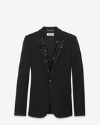 Iconic LE SMOKING Single Breasted Jacket in Black Grain De Poudre Organic Virgin Wool and Micro Sequins
