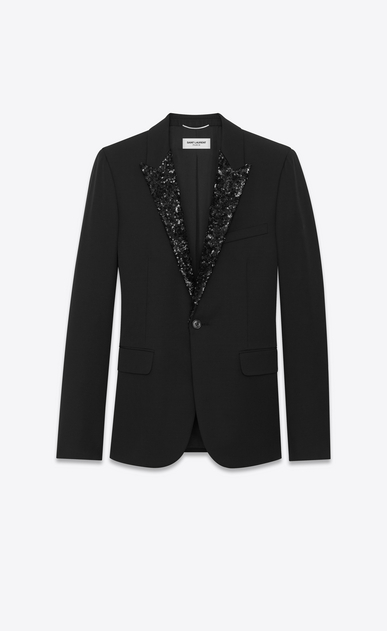 SAINT LAURENT Tuxedo Jacket U Iconic LE SMOKING Single Breasted Jacket in Black Grain De Poudre Organic Virgin Wool and Micro Sequins a_V4