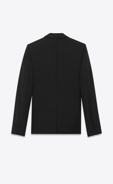 SAINT LAURENT Tuxedo Jacket U Iconic LE SMOKING Single Breasted Jacket in Black Grain De Poudre Organic Virgin Wool and Micro Sequins b_V4