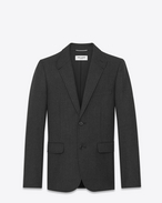 SAINT LAURENT Blazer U Giacca monopetto con collo stand-up grigio antracite in gabardine di lana e nera in pelle f