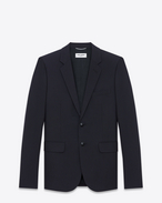 SAINT LAURENT Blazer Jacket U Single Breasted Jacket in Navy Blue Wool f
