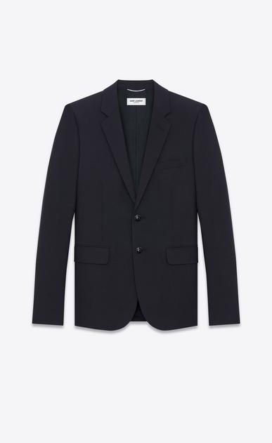 SAINT LAURENT Blazer Jacket U Single Breasted Jacket in Navy Blue Wool a_V4