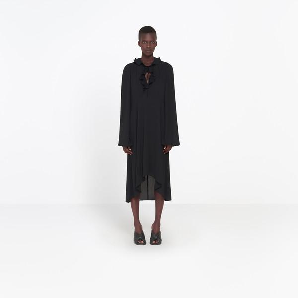 BALENCIAGA Dress Woman Swing Collar Frill Dress g