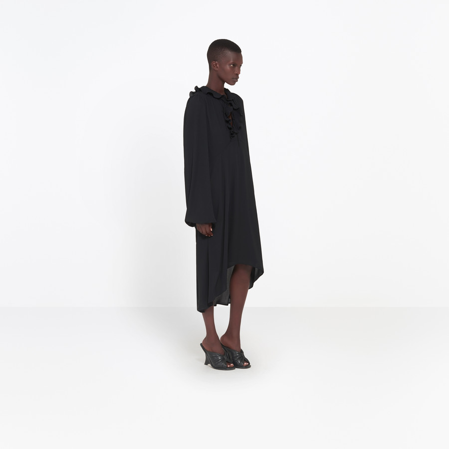 BALENCIAGA Swing Collar Frill Dress Dress D i