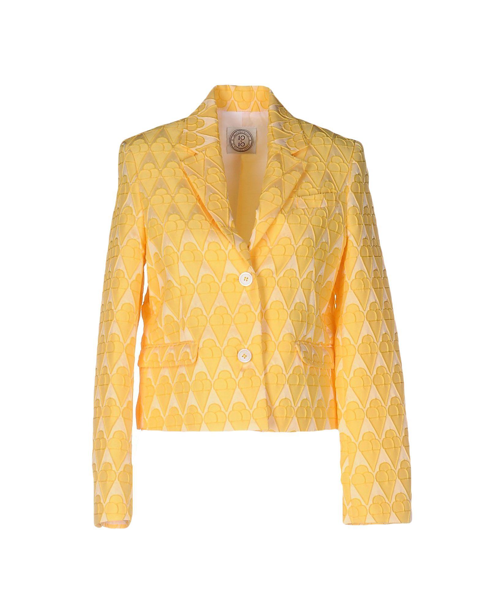 10X10 ANITALIANTHEORY Damen Jackett Farbe Gelb Größe 3 - broschei