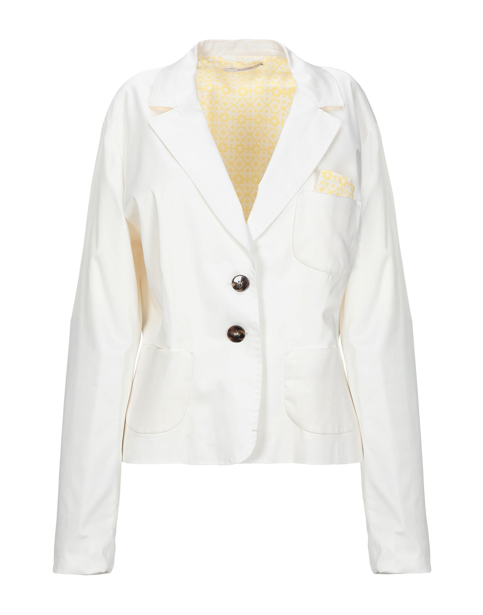 《セール開催中》EMME by MARELLA レディース テーラードジャケット ホワイト 48 コットン 98% / ポリウレタン 2%