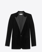 SAINT LAURENT Vestes de smoking D Veste de smoking à boutonnage simple LE SMOKING en velours noir f