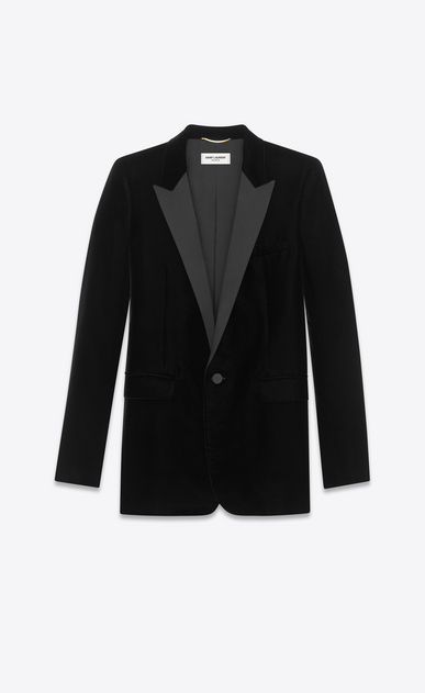 SAINT LAURENT Vestes de smoking D Veste de smoking à boutonnage simple LE SMOKING en velours noir a_V4
