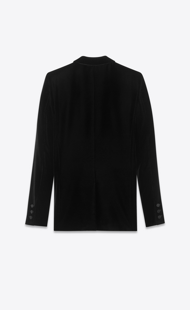 SAINT LAURENT Vestes de smoking D Veste de smoking à boutonnage simple LE SMOKING en velours noir b_V4