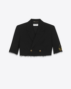 SAINT LAURENT Smokingjacke D Schwarze, dekonstruierte Oversized-Spencer-Offiziersjacke f