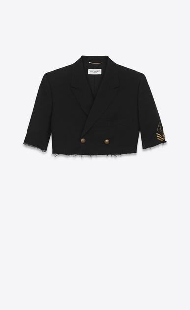 SAINT LAURENT Tuxedo Jacket D oversized deconstructed spencer officer in black gabardine v4