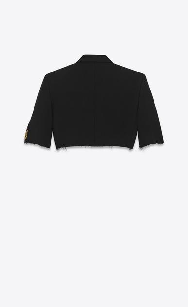 SAINT LAURENT Tuxedo Jacket D oversized deconstructed spencer officer in black gabardine b_V4