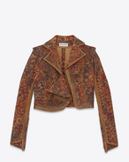 SAINT LAURENT Blazer Jacket D marrakech cropped fitted jacket in saffron red woven f