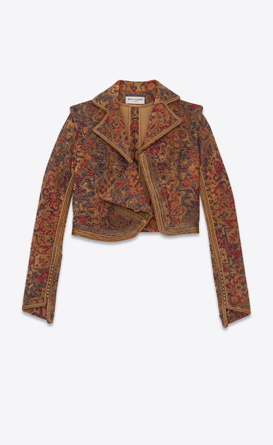 SAINT LAURENT Blazer Jacket D marrakech cropped fitted jacket in saffron red woven a_V4