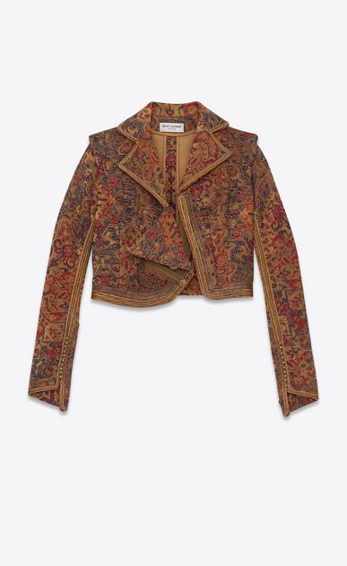 SAINT LAURENT Blazer Jacket D marrakech cropped fitted jacket in saffron red woven v4