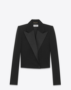 SAINT LAURENT Tuxedo Jacket D iconic le smoking spencer fitted jacket in black grain de poudre f