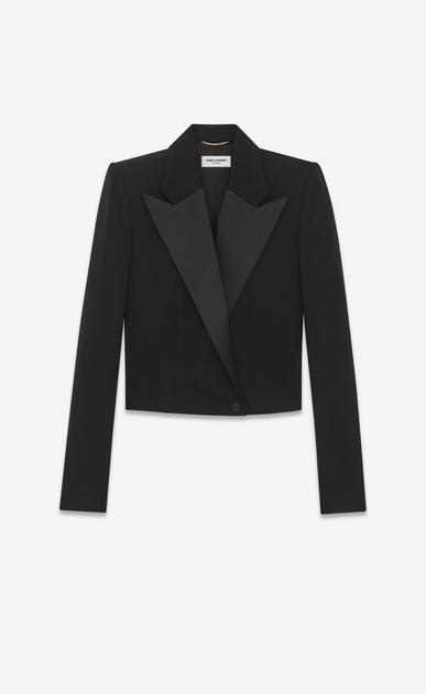 SAINT LAURENT Tuxedo Jacket D iconic le smoking spencer fitted jacket in black grain de poudre a_V4