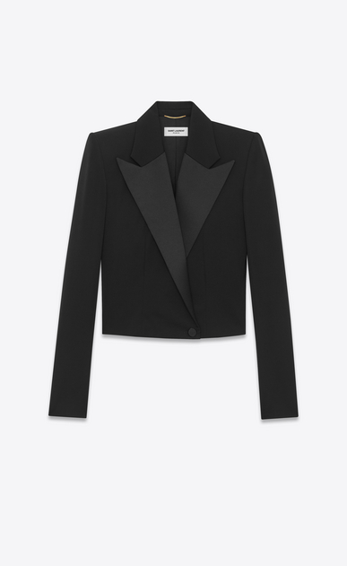 SAINT LAURENT Tuxedo Jacket D iconic le smoking spencer fitted jacket in black grain de poudre v4