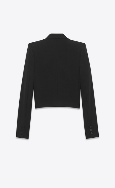 SAINT LAURENT Tuxedo Jacket D iconic le smoking spencer fitted jacket in black grain de poudre b_V4